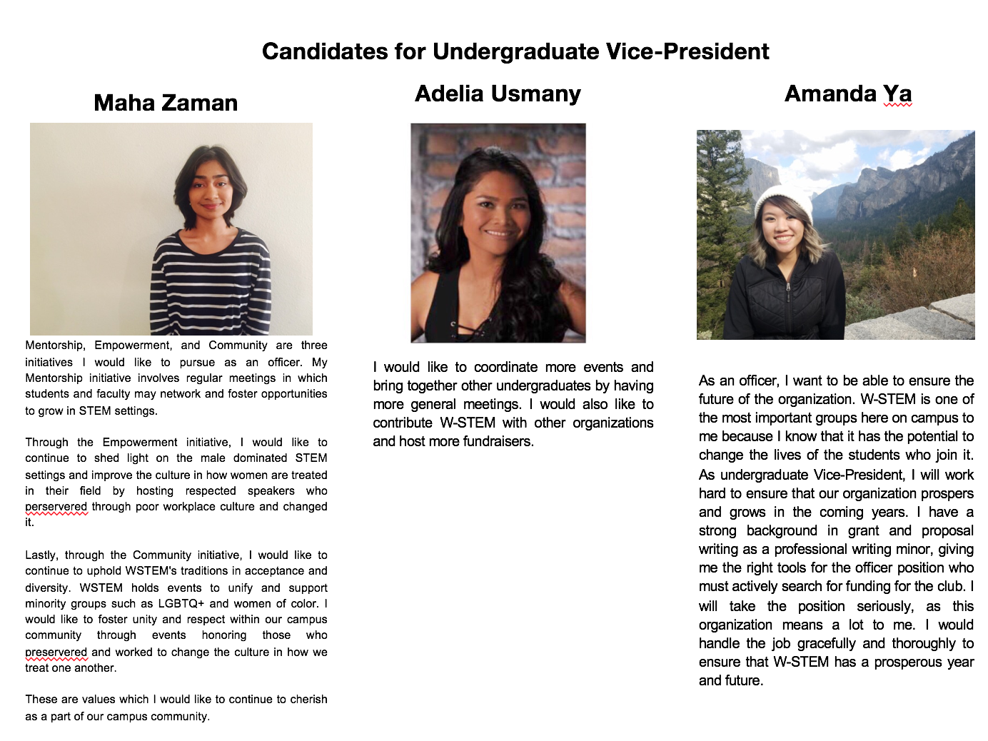 W-STEM elections 2018: your candidates